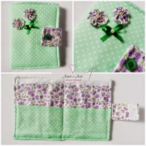Carteira em tecido - Primavera - Verde poá e Lilás floral