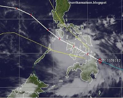 Taifunsaison Westpazifik: Tropischer Sturm BANYAN über Philippinen, danach nach China oder Vietnam, Banyan, aktuell, Verlauf, Philippinen, Vietnam, China, Oktober, 2011, Taifunsaison, Pazifik, Zugbahn,