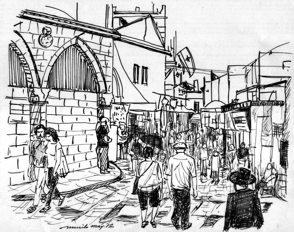 Line Art Jerusalem : Pencil drawings in old jerusalem