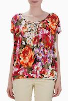 Bluza rosu cu alb si orange cu imprimeu floral