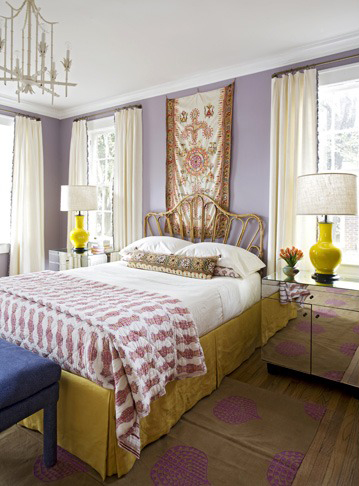 Yellow Lavender Boho Glam Bedroom