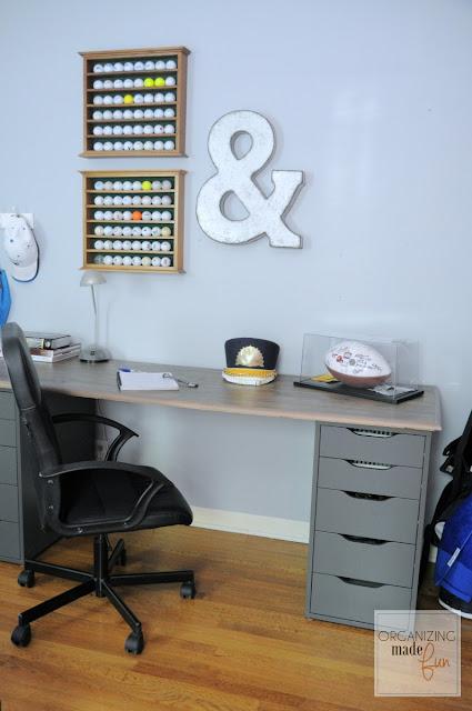 Teen boy desk made from laminate flooring :: OrganizingMadeFun.com