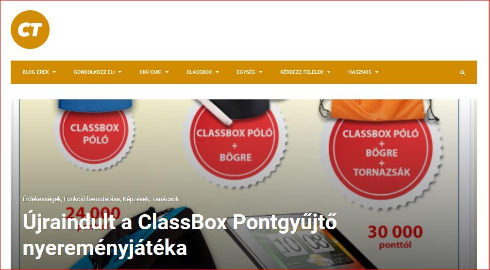 ClassBox Pontgyűjtő nyereményjáték