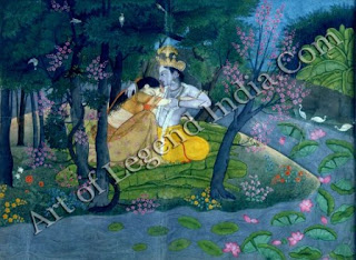 Radha and Krishna in a grove Kangra