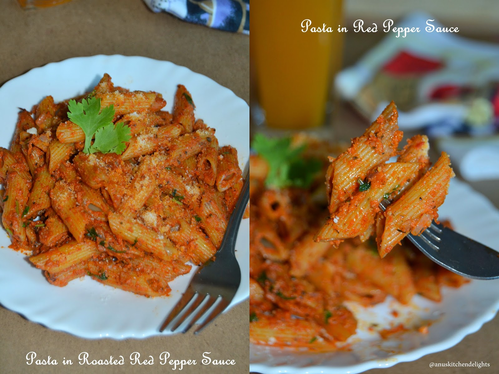 Pasta in Roasted red pepper sauce