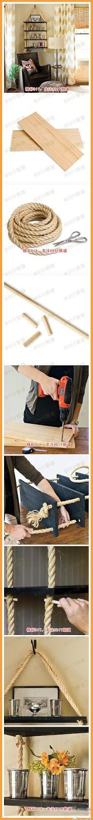 como fazer uma prateleira facil com cordas madeira