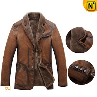 Mens Vintage Shearling Coat
