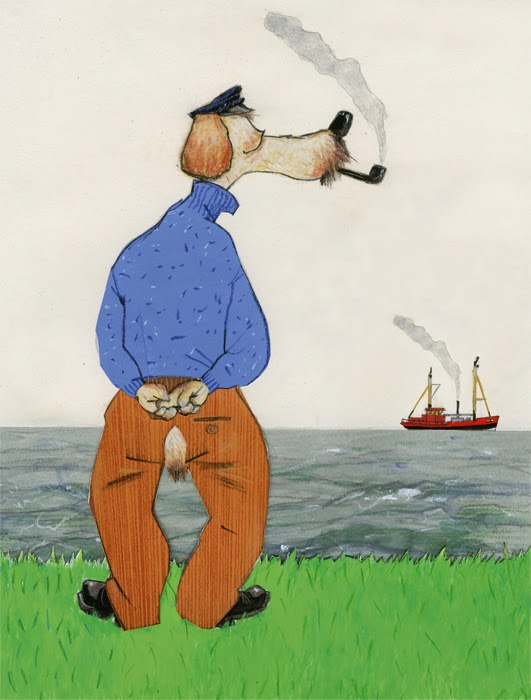 a sailor dog looking out over the sea illustration by Robert Wagt