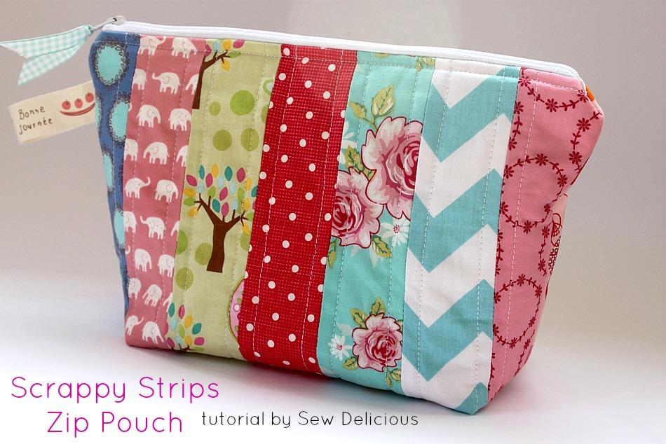 Scrappy Fabric Strip Zipper Pouch Tutorial Sew Delicious