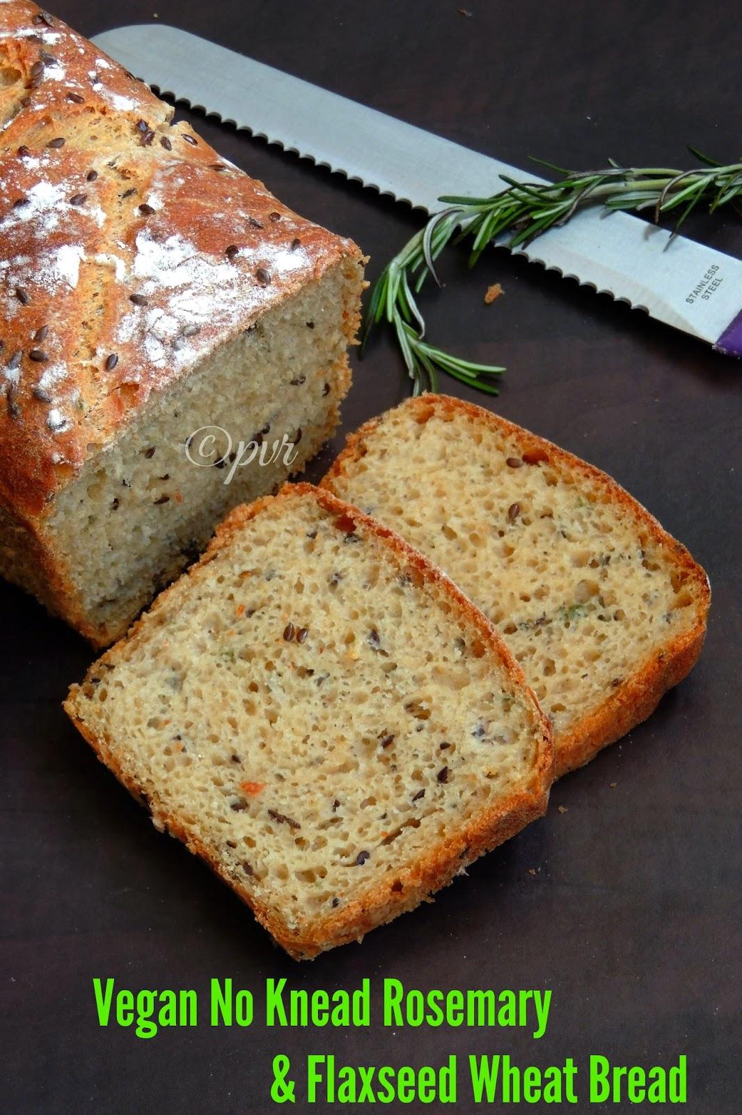 No knead vegan rosemary and flaxseed bread, Herb & Flaxseed loaded no knead whole wheat bread loaf, No knead whole wheat bread loaf