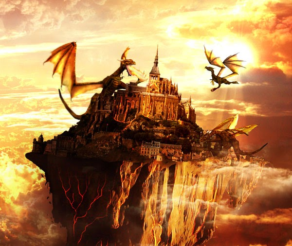 Create a Flying Land Illustration On Fire
