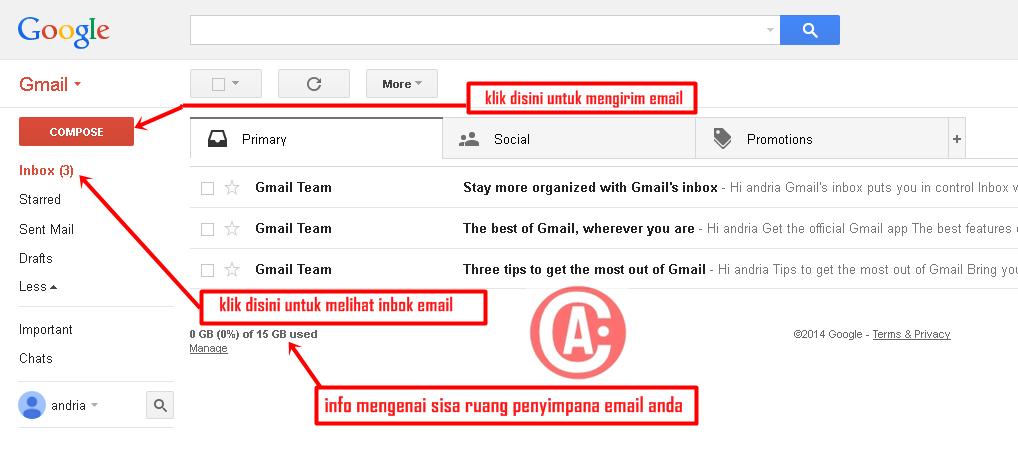 cara membuat / mendaftar email baru di gmail - tampilan halaman utama gmail