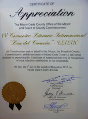 CERTIFICADO DE APRECIACION DE LA CIUDAD DE MIAMI A  ELILUC Y A CADA PARTICIPANTE