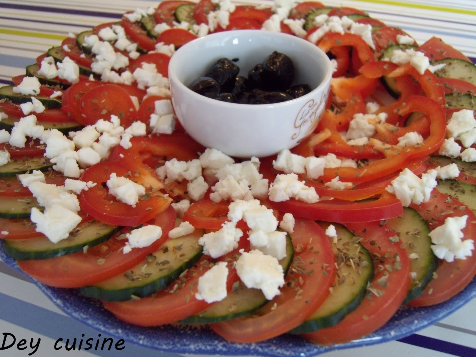 Dey cuisine repas grecque slouvaki de poulet salade for Cuisine grecque