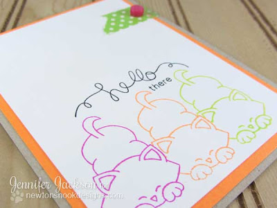 Hello Neon Cat Card 2- Newton's Nook Designs