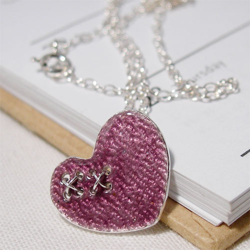 Kiss my Heart Silver Enamelled Pendant in Blackberry
