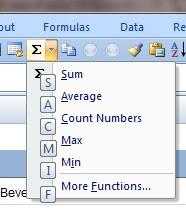 press  alt+08 to show sum function