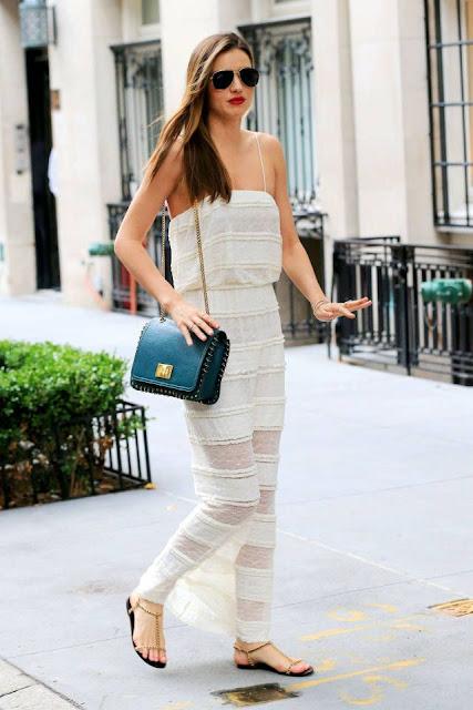Street style Miranda Kerr, maxi vestido branco