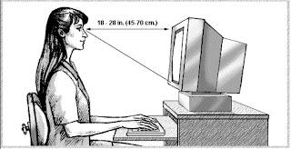 كم يجب أن تكون  المسافة بين العين وشاشة الكمبيوتر ؟؟ونصائح مهمة