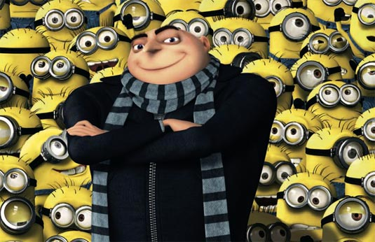 Gru with his minions in Despicable Me animatedfilmreviews.blogspot.com