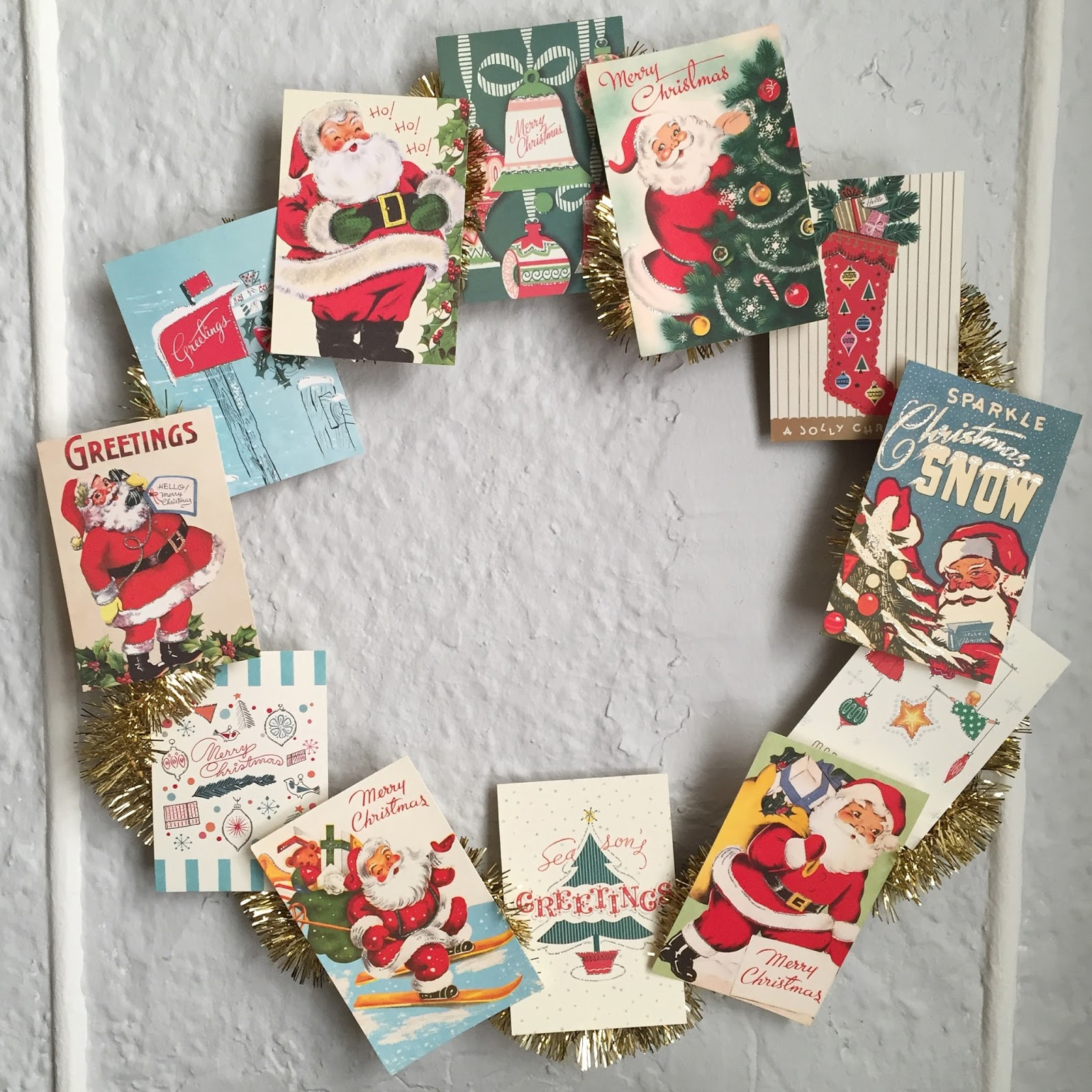 Crafty Lumberjacks Vintage Card Wreath