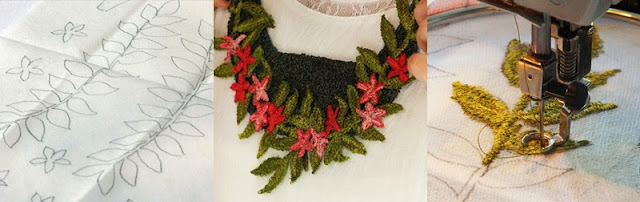 Machine embroidered jewellery