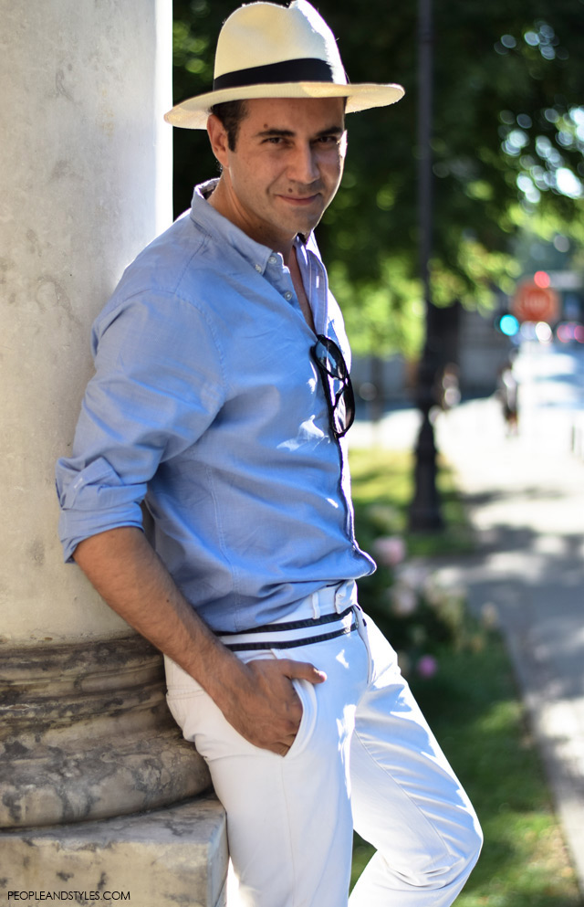 Ante Vrban, arhitektura, moda, dizajn, muška moda, street style. How to wear white pants and Panama hat for guys, men all white outfit casual