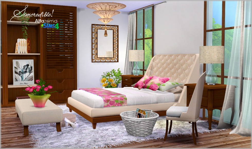 My sims 4 blog alfazema bedroom set by simcredible designs for Bedroom designs sims 4