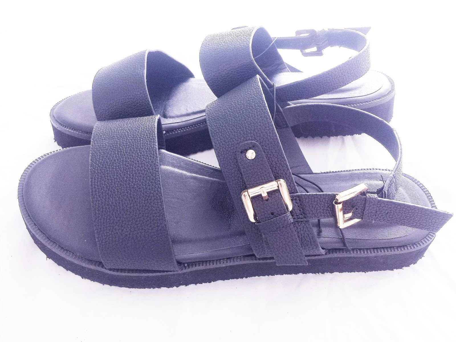 Matalan Black Chunky Gold Buckle Sandals