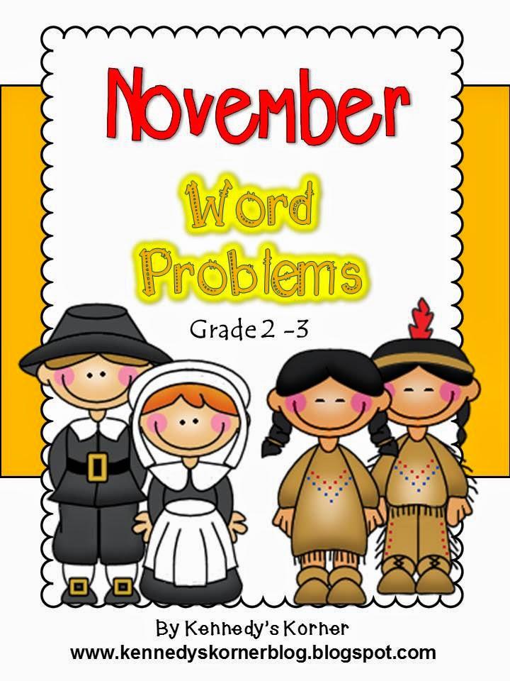 http://www.teacherspayteachers.com/Product/Math-Word-Problems-for-November-Grades-2-3-397998