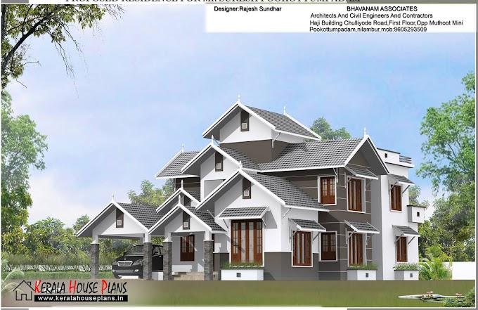 Modern 2275 Sqft. Kerala Slop Roof House Plan