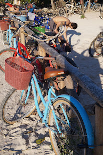 Bike, entrance to beach in Tulum
