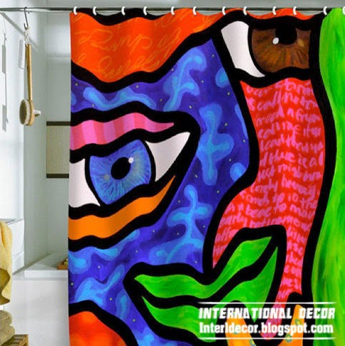 latest designs of shower curtains art style