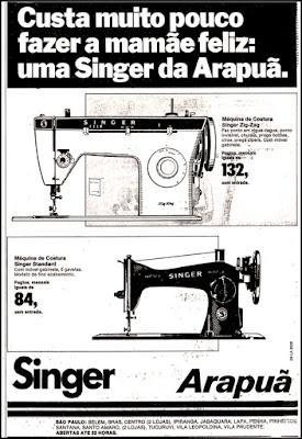 maquina de costura Singer,  anos 70.  década de 70. os anos 70; propaganda na década de 70; Brazil in the 70s, história anos 70; Oswaldo Hernandez;