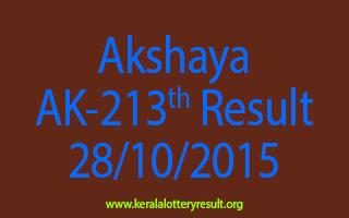 Akshaya AK 213 Lottery Result 28-10-2015