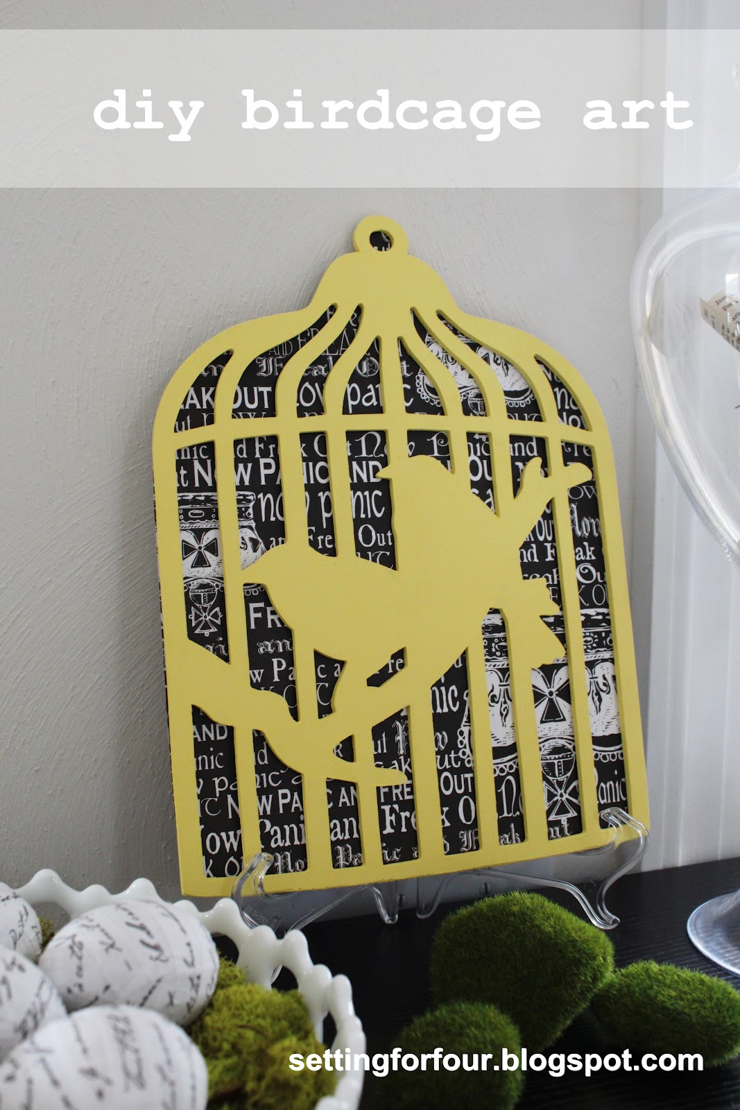 Easy DIY Birdcage Art Tutorial - Setting for Four