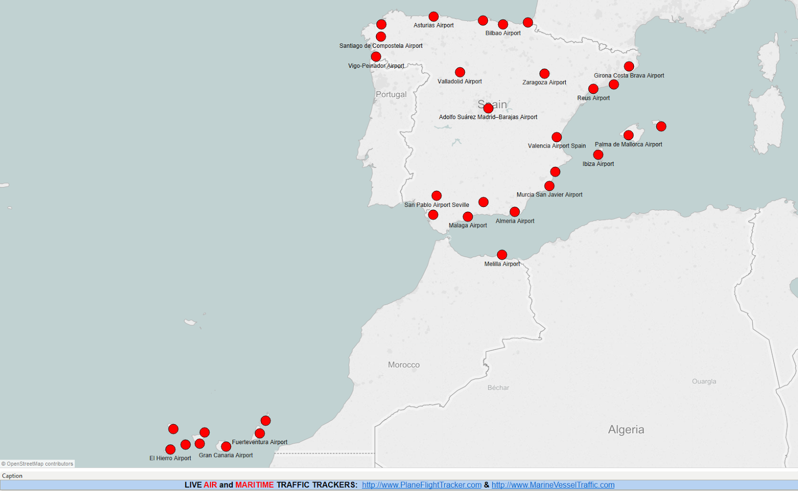 SPAIN AIRPORTS MAP Plane Flight Tracker