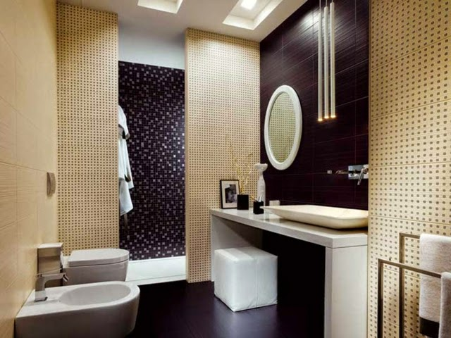 Ba os modernos con azulejos colores en casa for Banos modernos oscuros