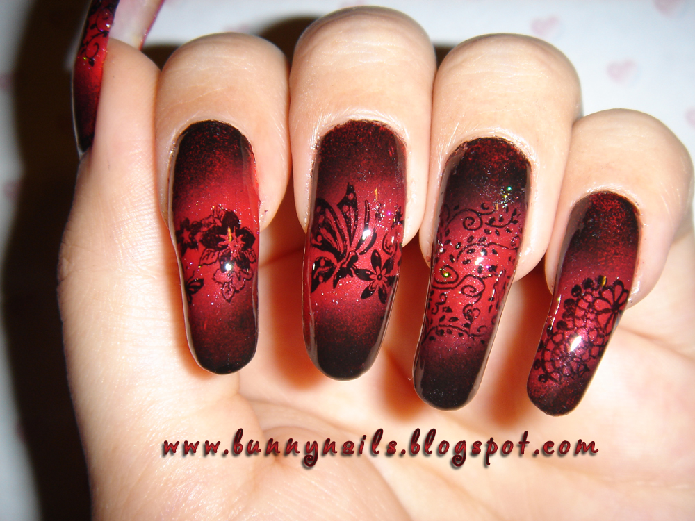 Bunny Nails: Red and Black Gradation Nail Art