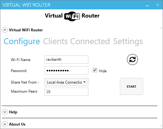 Vista previa de Virtual Wifi Router