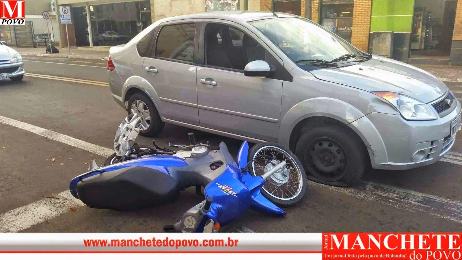noticias de rolândia no centro acidente com moto e carro