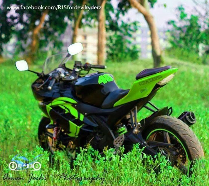 R15 Bike Wallpaper: Modified Green Beauty ™� Yamaha R15 V2 2014