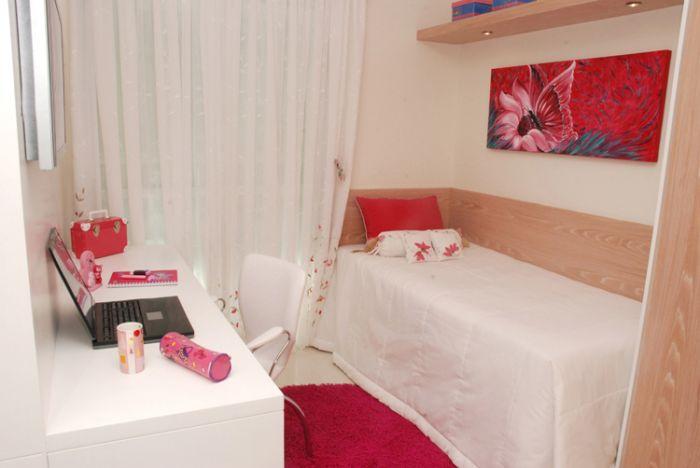 Decoração Quartos para meninas ~ Quarto Solteiro Decorado Apartamento Pequeno