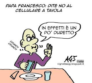papa francesco, smartphone, famiglia, vignetta satira