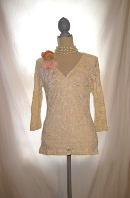 Lace Blouse Embellished with Handmade Flowers and Pearl Beads