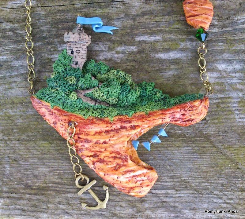 polymer clay, floating island, jewelry, ooak, premo, fimo, naszyjnik,