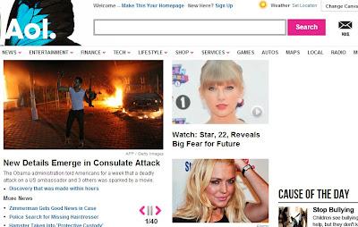 AOL homepage