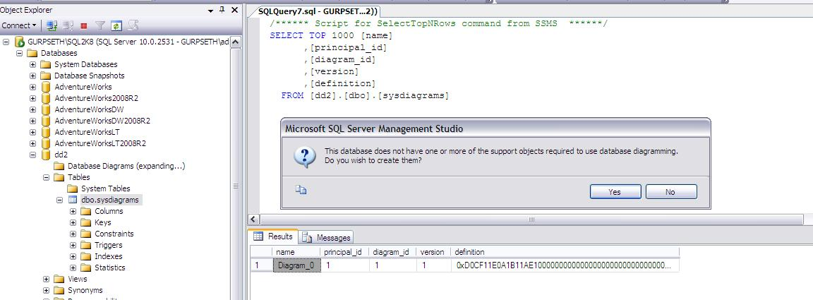Ms sql server how to take backup of database diagrams ccuart Choice Image
