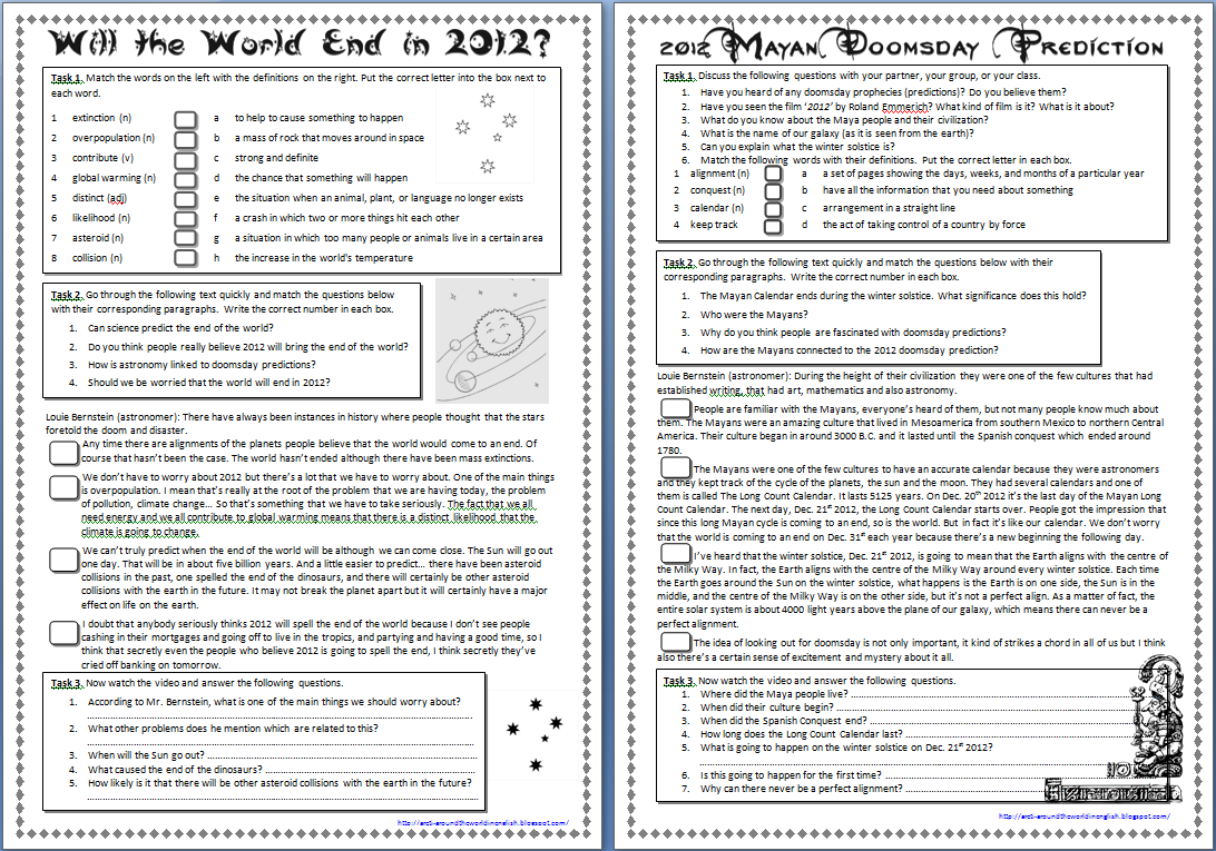 Worksheet Year 8 English Comprehension Worksheets around the world in english will end 2012 corresponding answers paragraphs text video transcript and finally after watching each they answer some c