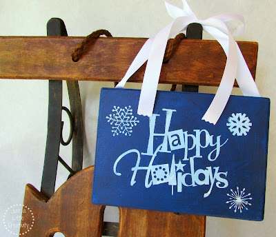 DIY Happy Holiday Sign using stickers